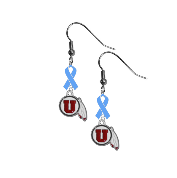 Utah Utes Prostate Cancer Awareness Light Blue Ribbon Dangle Earrings