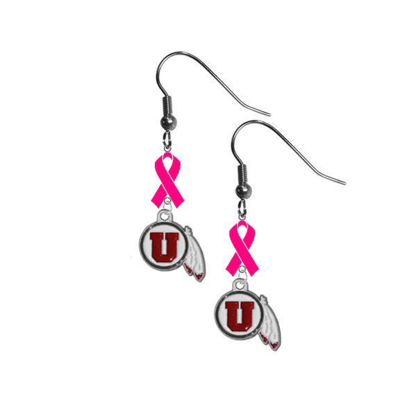 Utah Utes Breast Cancer Awareness Hot Pink Ribbon Dangle Earrings
