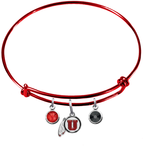 Utah Utes RED Color Edition Expandable Wire Bangle Charm Bracelet