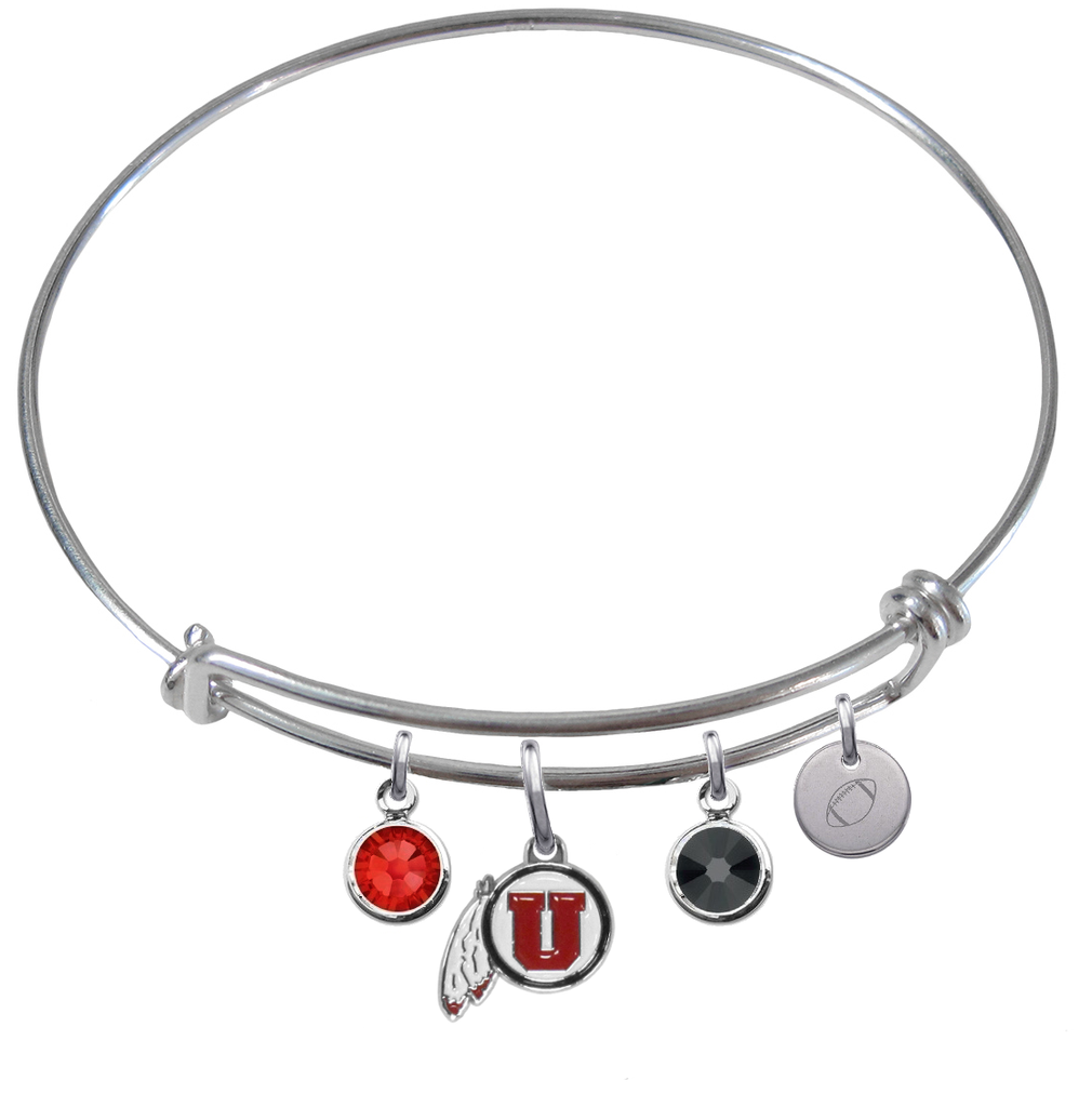 Utah Utes Football Expandable Wire Bangle Charm Bracelet