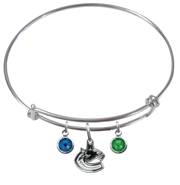 Vancouver Canucks NHL Expandable Wire Bangle Charm Bracelet