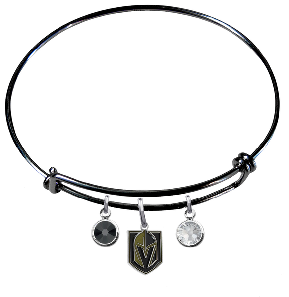 Vegas Golden Knights Color Edition BLACK Expandable Wire Bangle Charm Bracelet