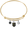 Vegas Golden Knights Color Edition GOLD Expandable Wire Bangle Charm Bracelet