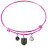 Vegas Golden Knights Color Edition PINK Expandable Wire Bangle Charm Bracelet
