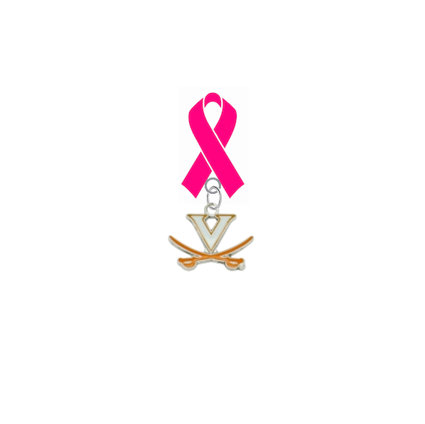 Virginia Cavaliers Breast Cancer Awareness / Mothers Day Pink Ribbon Lapel Pin