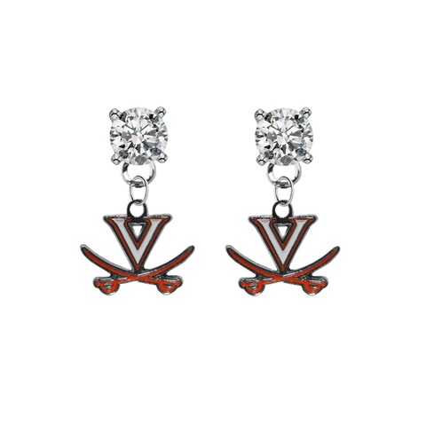 Virginia Cavaliers CLEAR Swarovski Crystal Stud Rhinestone Earrings