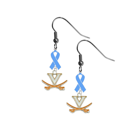 Virginia Cavaliers Prostate Cancer Awareness Light Blue Ribbon Dangle Earrings