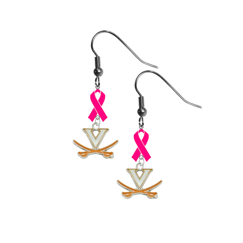 Virginia Cavaliers Breast Cancer Awareness Hot Pink Ribbon Dangle Earrings