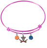 Virginia Cavaliers PINK Color Edition Expandable Wire Bangle Charm Bracelet