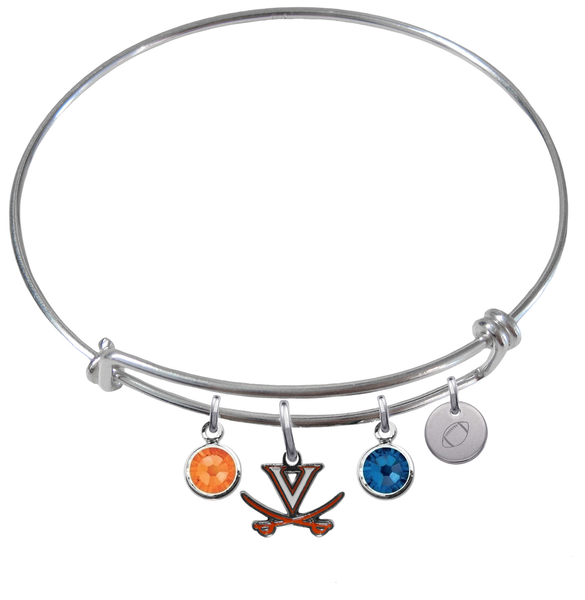 Virginia Cavaliers Football Expandable Wire Bangle Charm Bracelet