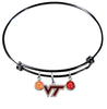 Virginia Tech Hokies BLACK Expandable Wire Bangle Charm Bracelet