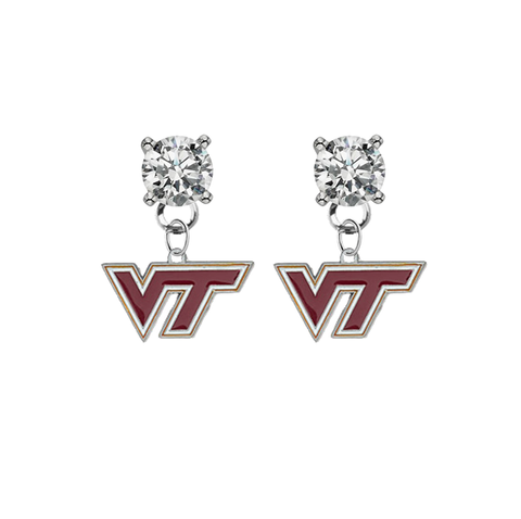 Virginia Tech Hokies CLEAR Swarovski Crystal Stud Rhinestone Earrings