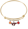 Virginia Tech Hokies GOLD Expandable Wire Bangle Charm Bracelet