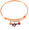 Virginia Tech Hokies ORANGE Expandable Wire Bangle Charm Bracelet