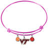 Virginia Tech Hokies PINK Expandable Wire Bangle Charm Bracelet