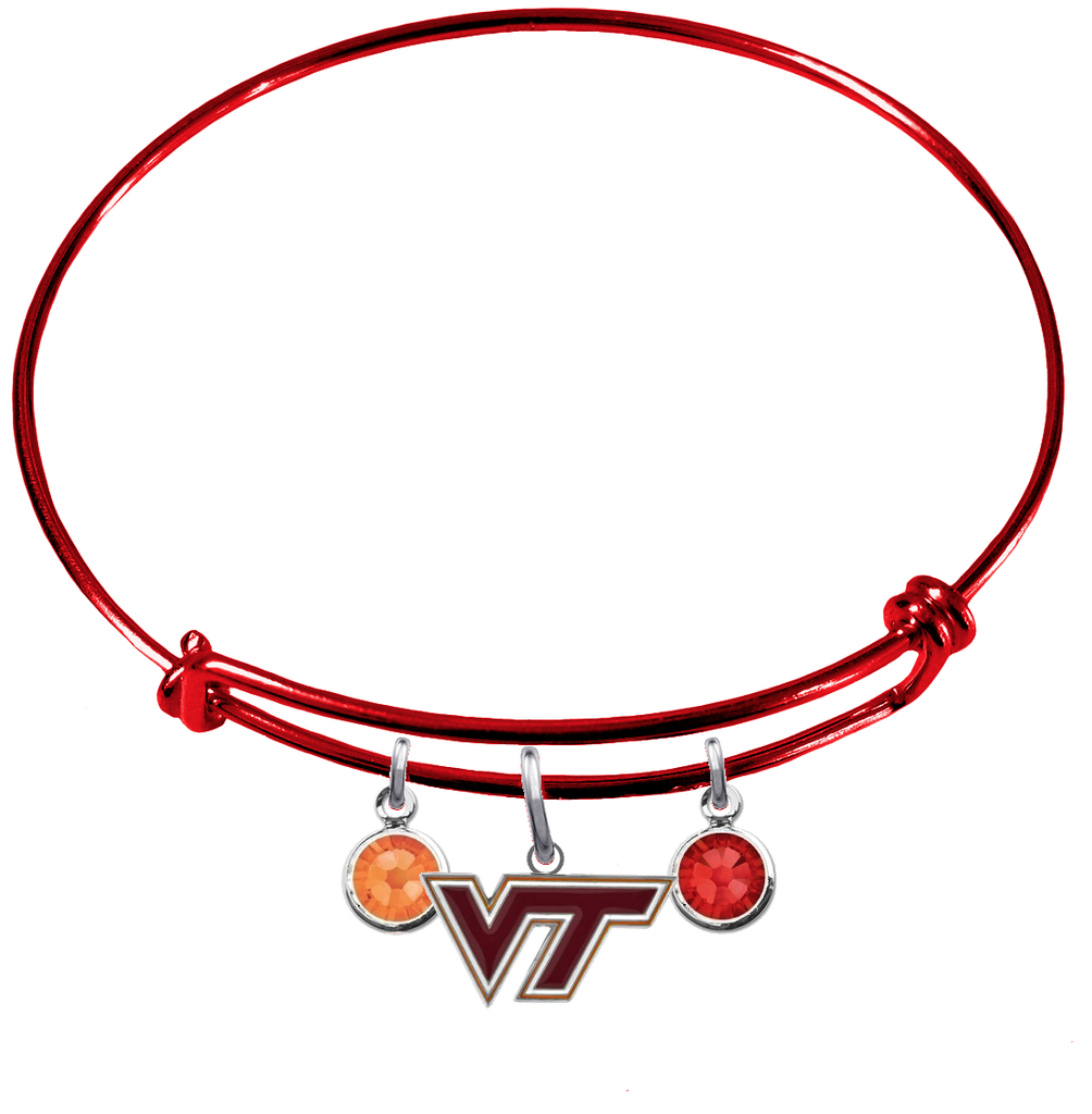 Virginia Tech Hokies RED Expandable Wire Bangle Charm Bracelet