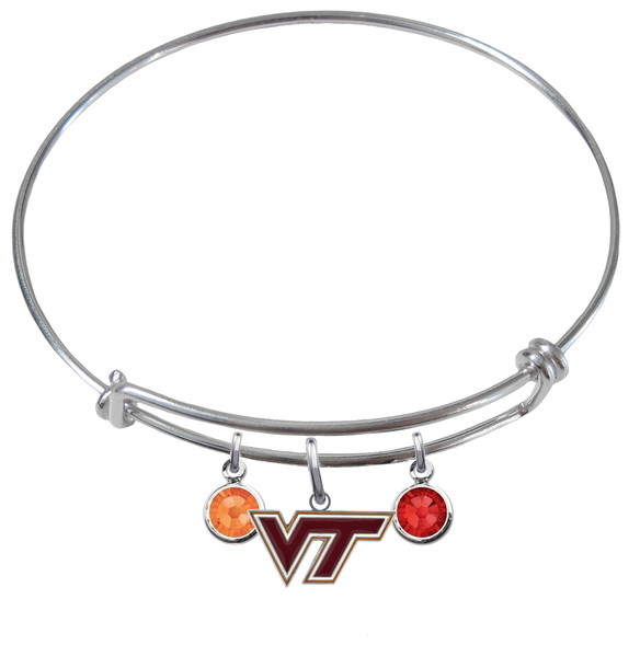 Virginia Tech Hokies NCAA Expandable Wire Bangle Charm Bracelet