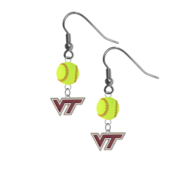 Virginia Tech Hokies NCAA Fastpitch Softball Dangle Earrings