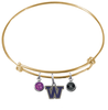 Washington Huskies GOLD Expandable Wire Bangle Charm Bracelet