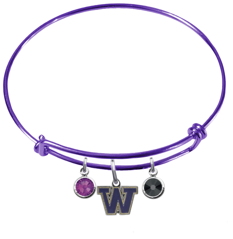 Washington Huskies PURPLE Expandable Wire Bangle Charm Bracelet