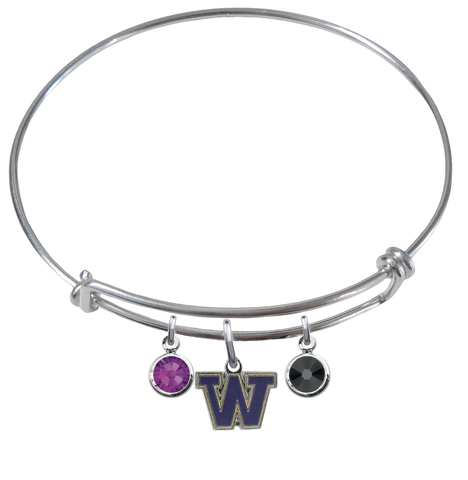 Washington Huskies NCAA Expandable Wire Bangle Charm Bracelet