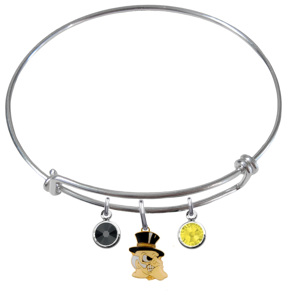 Wake Forest Demon Deacons NCAA Expandable Wire Bangle Charm Bracelet