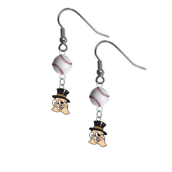 Wake Forest Demon Deacons NCAA Baseball Dangle Earrings