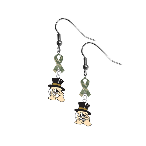 Wake Forest Demon Deacons Salute to Service Camouflage Camo Ribbon Dangle Earrings