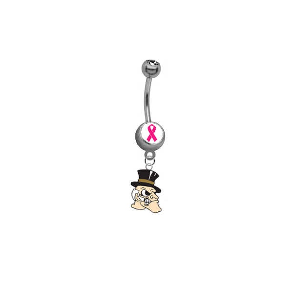 Wake Forest Demon Deacons Breast Cancer Awareness Belly Button Navel Ring