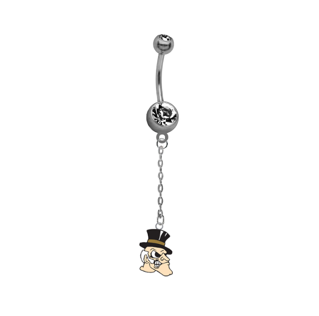 Wake Forest Demon Deacons Dangle Chain Belly Button Navel Ring