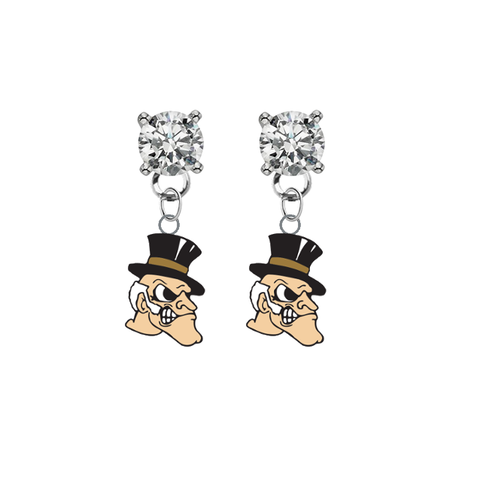 Wake Forest Demon Deacons CLEAR Swarovski Crystal Stud Rhinestone Earrings