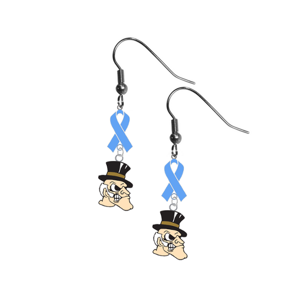 Wake Forest Demon Deacons Prostate Cancer Awareness Light Blue Ribbon Dangle Earrings