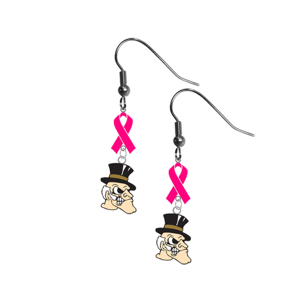 Wake Forest Demon Deacons Breast Cancer Awareness Hot Pink Ribbon Dangle Earrings