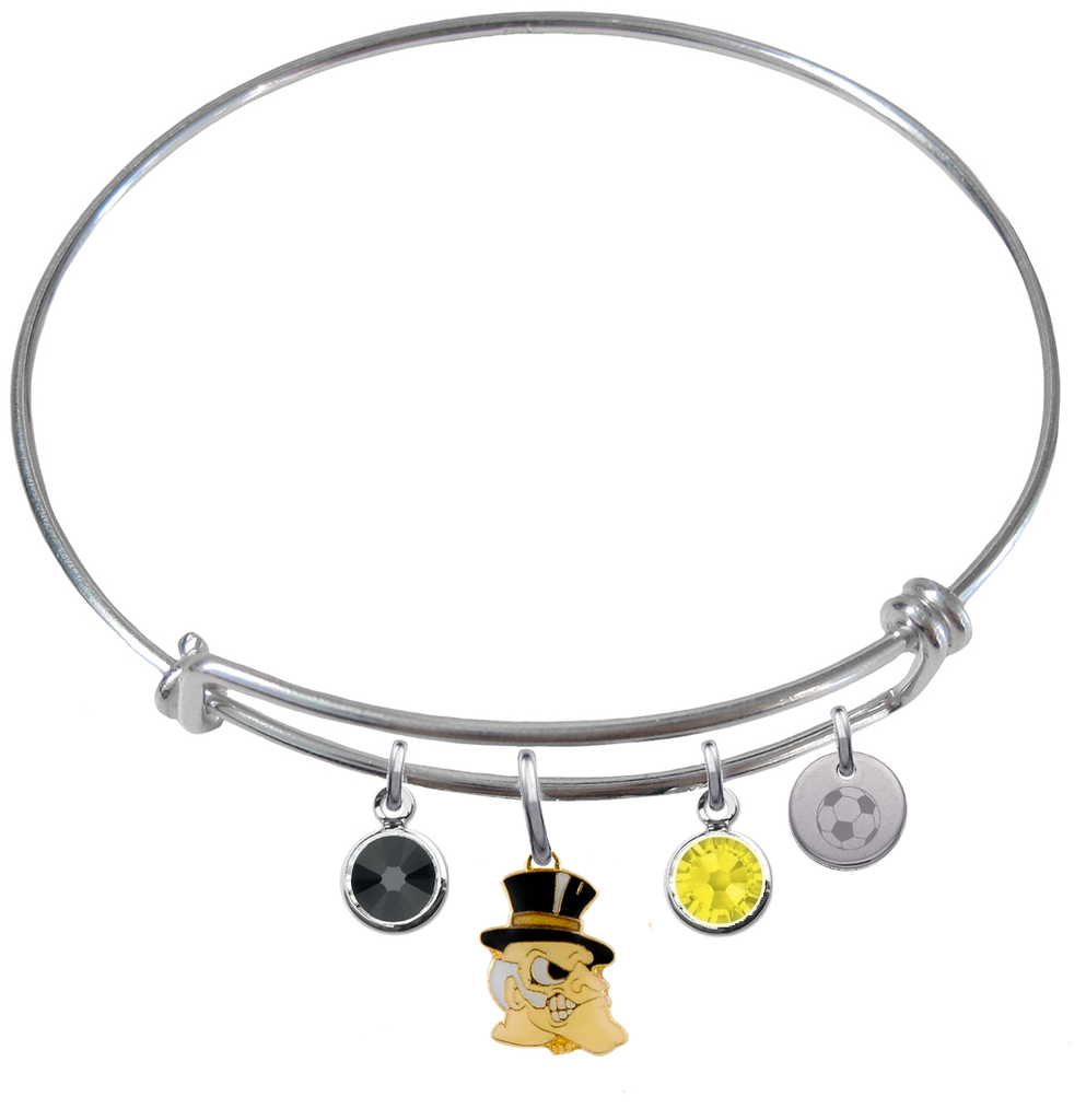 Wake Forest Demon Deacons Soccer Expandable Wire Bangle Charm Bracelet