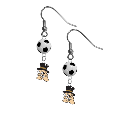 Wake Forest Demon Deacons NCAA Soccer Dangle Earrings