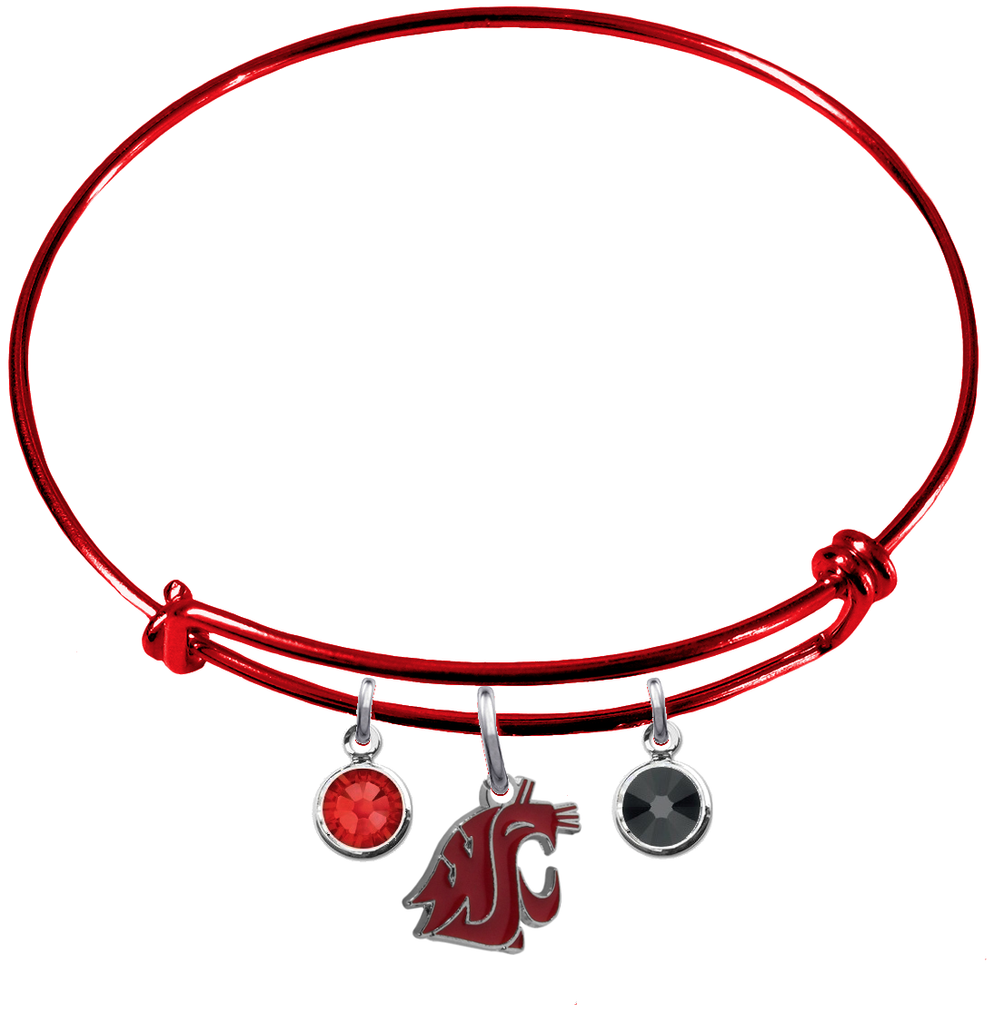 Washington State Cougars RED Expandable Wire Bangle Charm Bracelet