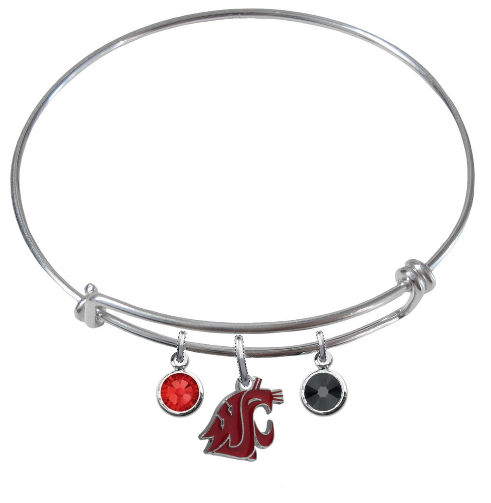 Washington State Cougars NCAA Expandable Wire Bangle Charm Bracelet