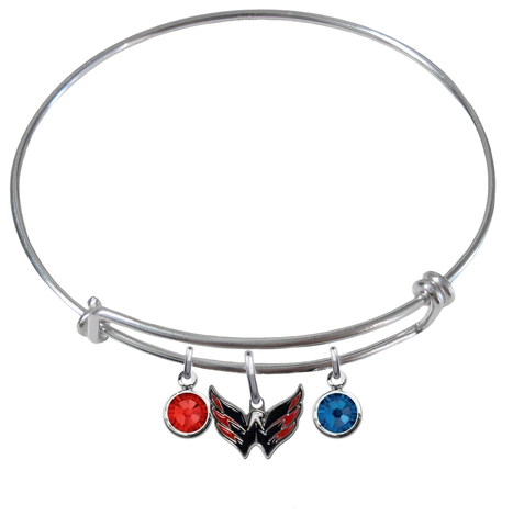 Washington Capitals NHL Expandable Wire Bangle Charm Bracelet