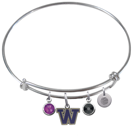 Washington Huskies Basketball Expandable Wire Bangle Charm Bracelet