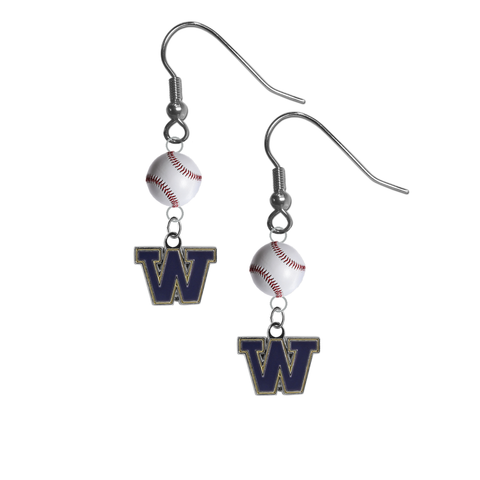 Washington Huskies NCAA Baseball Dangle Earrings
