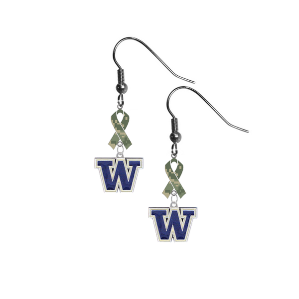 Washington Huskies Salute to Service Camouflage Camo Ribbon Dangle Earrings
