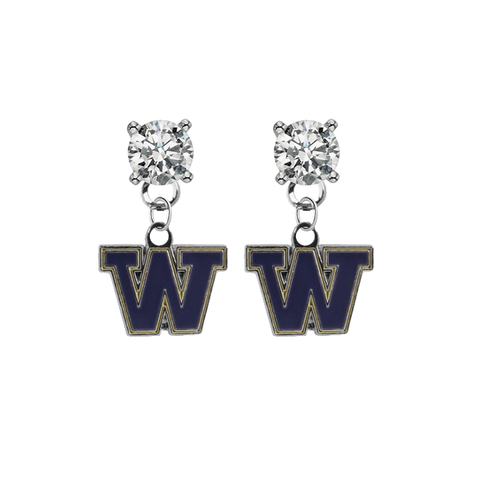Washington Huskies CLEAR Swarovski Crystal Stud Rhinestone Earrings