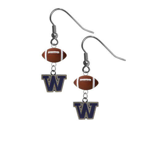 Washington Huskies NCAA Football Dangle Earrings