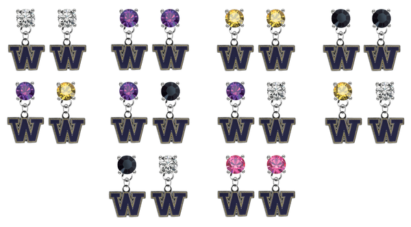 Washington Huskies NCAA Swarovski Crystal Stud Rhinestone Earrings
