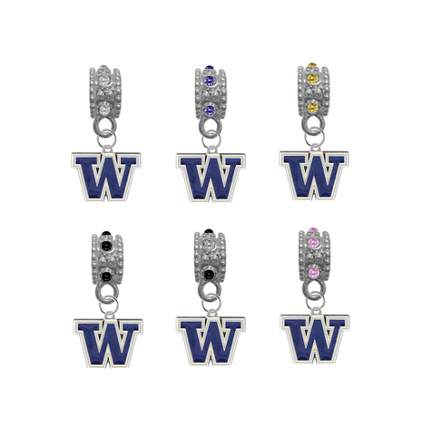 Washington Huskies NCAA Crystal Rhinestone European Bracelet Charm