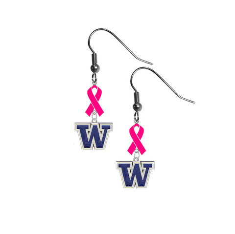 Washington Huskies Breast Cancer Awareness Hot Pink Ribbon Dangle Earrings