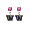 Washington Huskies PINK Swarovski Crystal Stud Rhinestone Earrings