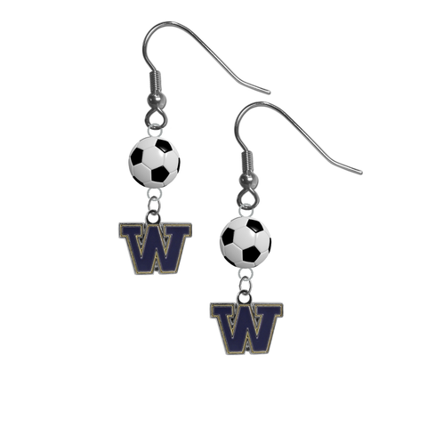 Washington Huskies NCAA Soccer Dangle Earrings