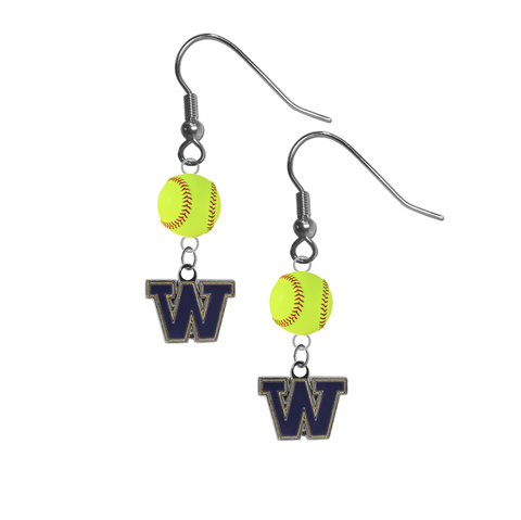 Washington Huskies NCAA Fastpitch Softball Dangle Earrings