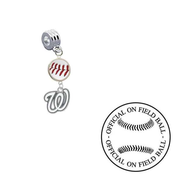 Washington Nationals On Field Baseball Universal European Bracelet Charm (Pandora Compatible)